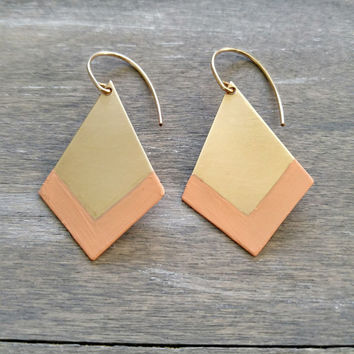 Chevron pattern earrings, simple gold drop earrings, peach coral earrings, brass dangle earrings, geometric earrings, modern earrings, chic