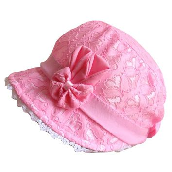 Hilenhug Girl Bucket Hat Cap for 3-12 Months Baby Girls Chiffon Bow Knot Style Kids Toddler Go Fishing Hats Floppy Chapeau