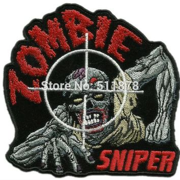 ZOMBIE SNIPER DOOMSDAY APOCALYPSE PREPPER ROCKABILLY PUNK HOT ROD Motorcycle Embroidered Biker Jacket Vest MC Patches IRON ON