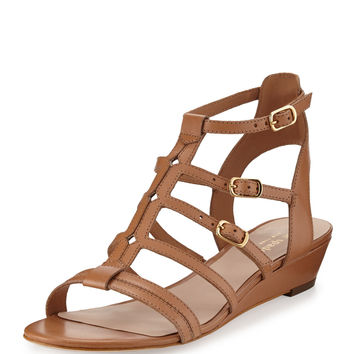 Kate Spade New York Valetta Leather Demi-Wedge Gladiator Sandal, Light Luggage LAVELIQ
