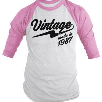Shirts By Sarah Men's Vintage Made In 1987 30th Birthday Raglan Retro 3/4 Sleeve Shirt