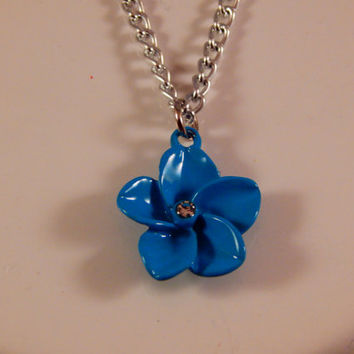 Tropical Flower necklace in blue or pink - jewelry gift for twin sisters, daughters, best friends - Hawaii, colorful, boho, Bohemian, luau