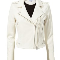 Dylan White Leather Moto Jacket