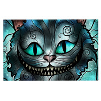 "Mandie Manzano ""Mad Chesire"" Teal Cat Decorative Door Mat"
