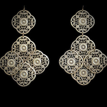 Vintage Boho Hippie Brass Filigree Dangle Drop Earrings