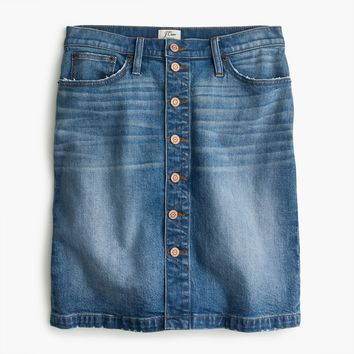 Button-front denim mini skirt
