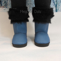 American Girl Dolls Boots Blue with Black Fur