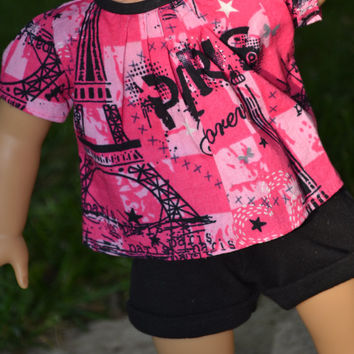 American Girl Doll clothes - Paris top & cuffed shorts  2 pc outfit, 18 in Doll Clothes