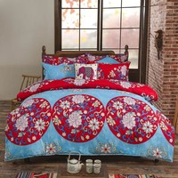 Bohemian style super king Bedding sets rosered bedclothes 3 or 4Pcs bed Flat linen/sheet duvet cover set pillowcase home textile