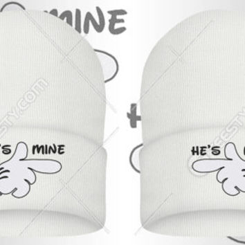 9859532219df9 She Is Mine He Is Mine Beanie Beanies Winter Hat Winter Hats Couple Beanie  Couple Beanies