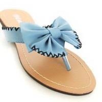 Faux Leather Bow Stitch Thong Flip Flop Sandals Blue or White