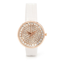 FOREVER 21 Rhinestoned Analog Watch Light Rose/White One
