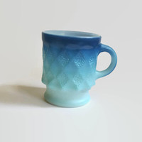 Anchor Hocking Fire King - Kimberly Diamond - Textured Mug in Blue