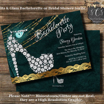 Glitz and Glam Bachelorette Party Invitation// Bridal Shower Invitations// High Heel invite// Teal and Gold// Rhinestone Look Invite//