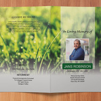 Funeral Program Template, Memorial Program, Obituary Template | Editable With Microsoft Word, Publisher & Mac Page, Instant Download - EF37