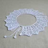 Hand knit lace collar white cotton necklace gift women girl teen detachable