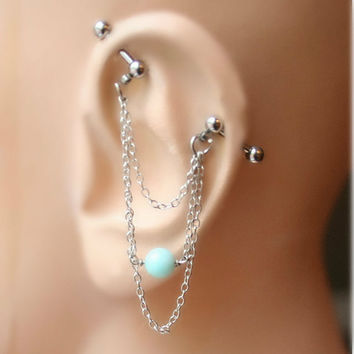 Industrial Barbell, Industrial piercing,  Jewelry, Industrial bar earring, Industrial piercing chain, (m1)