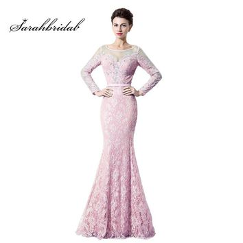 Vintage Sashes Mermaid Evening Dresses hot sale Sexy Long Sleeves Floor length Beading Sexy Prom Gown Zipper Back robe LX072
