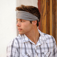 Mens Headband, Gray Headband, Extra Large Headbands, Stretch Headband, Yoga Headscarf (Item 1202) X-Large