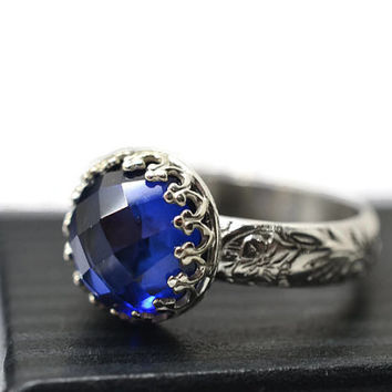 Blue Sapphire Ring, Renaissance Engagement Ring, Secret Message Ring, Custom Engraving, Personalized Ring