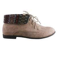 REFRESH KORSA-02 Women's Basic Lace Up Folded Cuff Desert Ankle Boot