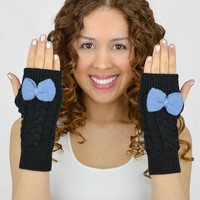 Black Fingerless Mittens - knit gloves blue bow blue knit bow gloves knitted bow knit fingerless gloves black arm warmers black women gloves