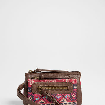 wristlet in faux leather and ethnic elephant print fabric