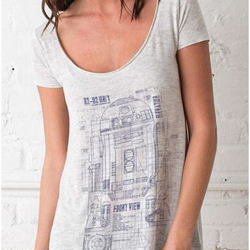 Grunge R2D2 Blueprint Women's Drape T shirt