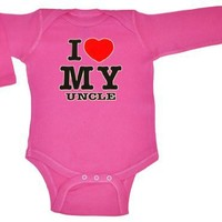 So Relative! - I Love (Red Heart) My Uncle - Baby Infant Long Sleeve Bodysuit (Assorted Colors/Sizes)