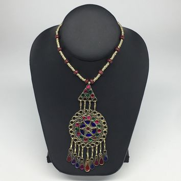 Kuchi Necklace Ethnic Afghan Tribal Multi-Color Glass Jingle bell Necklace NK26