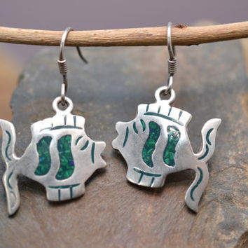 Sterling  Silver Fish Earrings with Crushed Malachite Inlay