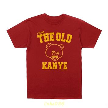 GILDAN Kanye West I Miss The Old Kanye College Dropout + Hip-Hop Stickers Short Sleeves New Fashion T Shirt Men Clothing