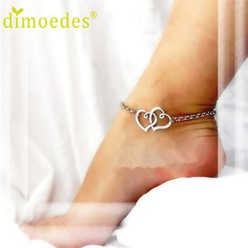 Women's Anklets Deal Double Heart Bracelet Lady 1pc For Ankle