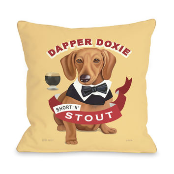 Dapper Doxie Throw Pillow by Retro Pets