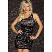 Gray Asymmetric One-shoulder Tight Club Dress With Black Lace
