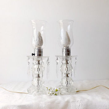Crystal Prism Hurricane Table Lamps Etched Glass Chimneys Set of 2 Electric Victorian Boudoir Home Decor, Shabby Cottage Chic Lighting