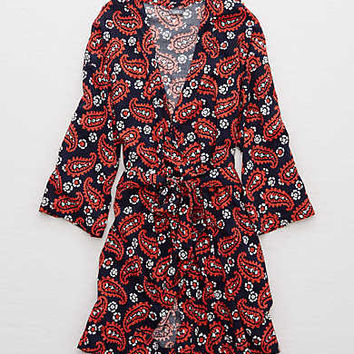 Aerie Woven Robe, Navy