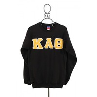 Kappa Alpha Theta Crewneck Sweatshirt in Black