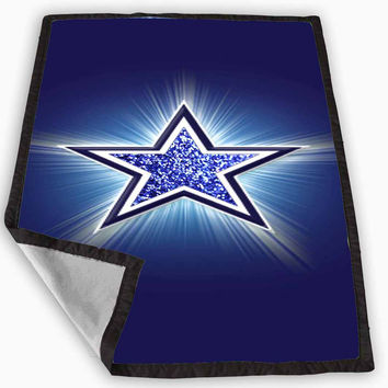 logo dallas cowboys blue glitter sparkle Design Blanket for Kids Blanket, Fleece Blanket Cute and Awesome Blanket for your bedding, Blanket fleece **