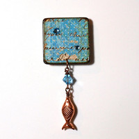 Fish Lapel Pin Light Blue Decoupaged Square Brooch by rrizzart
