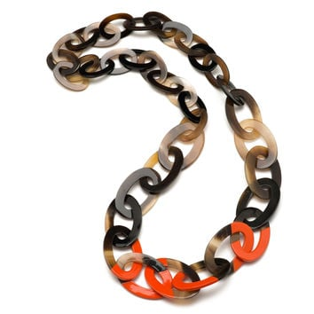 Buffalo Horn Link Necklace - Graduated Shades & Lacquer Accent