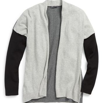 Girl's Vince Colorblock Drape Cardigan,