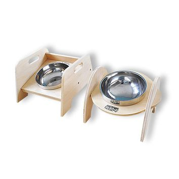 Stainless steel dog bowl with your choice of a round or square stand