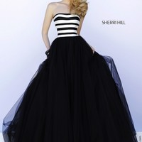 Sherri Hill 32174 Strapless Wide Striped Bodice Ballgown Silhouette