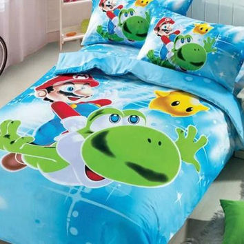 HOT SELL Super Mario bedding set girls Twin full size Bedding kids duvet cover boys 100%cotton 3d cartoon Duvet cover bed sheet