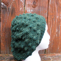 Crochet Slouchy Tam Hat with Bobbles in Deep Mossy Green, ready to ship.