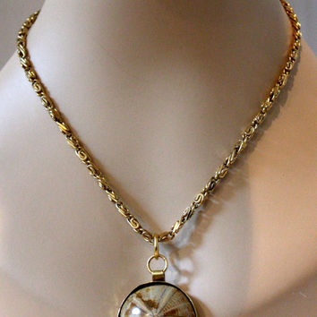 Fossilized Sea Biscuit Pendant, Sand Dollar Fossil Necklace, Sea Urchin Jewelry
