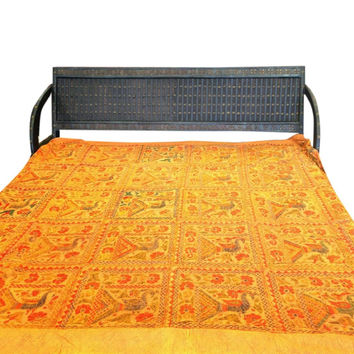 Indian Bedspread Yellow Ethnic Hand Embroidered Vintage Tapestry Bedcover King Sz