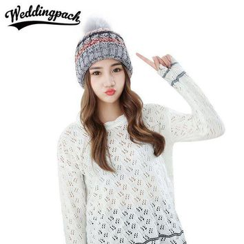 CREYCI7 Fashion Women Beanie Hat With Ball Multi Color Striped Knitted Female Beanies Autumn Winter Warm Skullies Women's Accessories