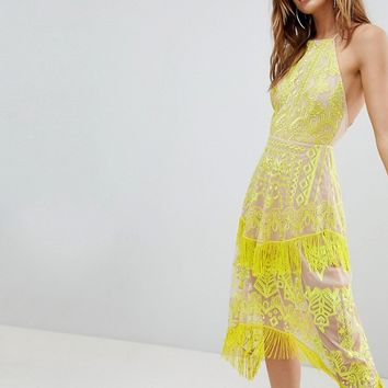 ASOS Embroidered Square Neck Fringe Hem Midi Dress at asos.com
